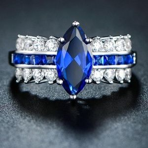 Jewelry - 18K White Gold Marquise Sapphire Ring (September)